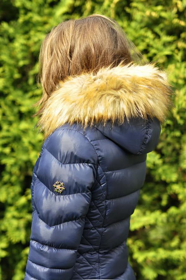4f754e7b6 ... fashionavenue platek sniegu snowflake granat kurtka damska zimowa  ciepla futerko jenot ocieplana złote zamki przeszycia pikowania ...