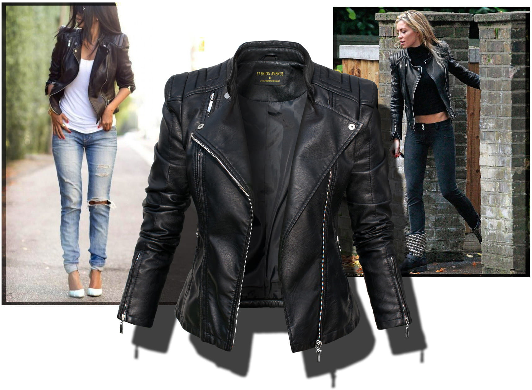 c7980c579e984 ... Ekskluzywna Kurtka Damska Ramoneska Motocyklowa Moto Biker Jacket  Zameczki Przeszycia Wiosna 2016 Nowy Model model ...