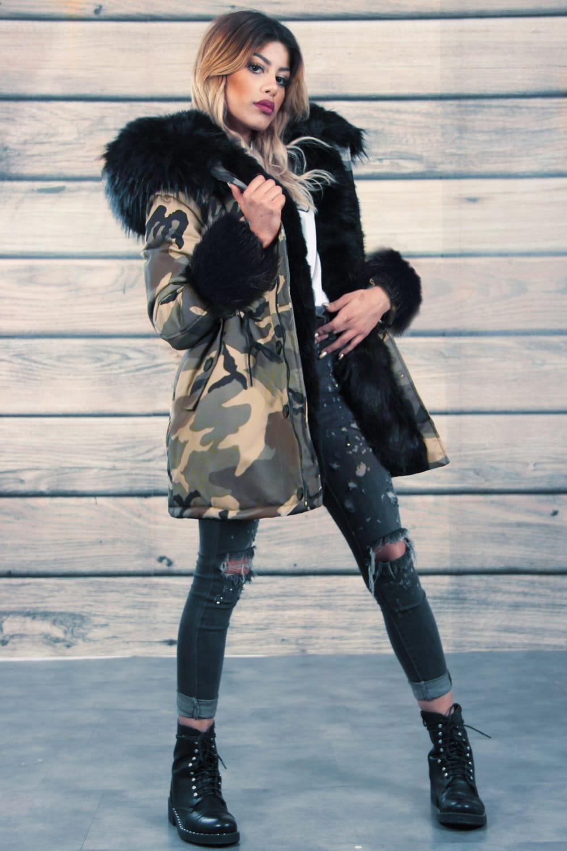 kurtka zimowa z paturem futro kolor
