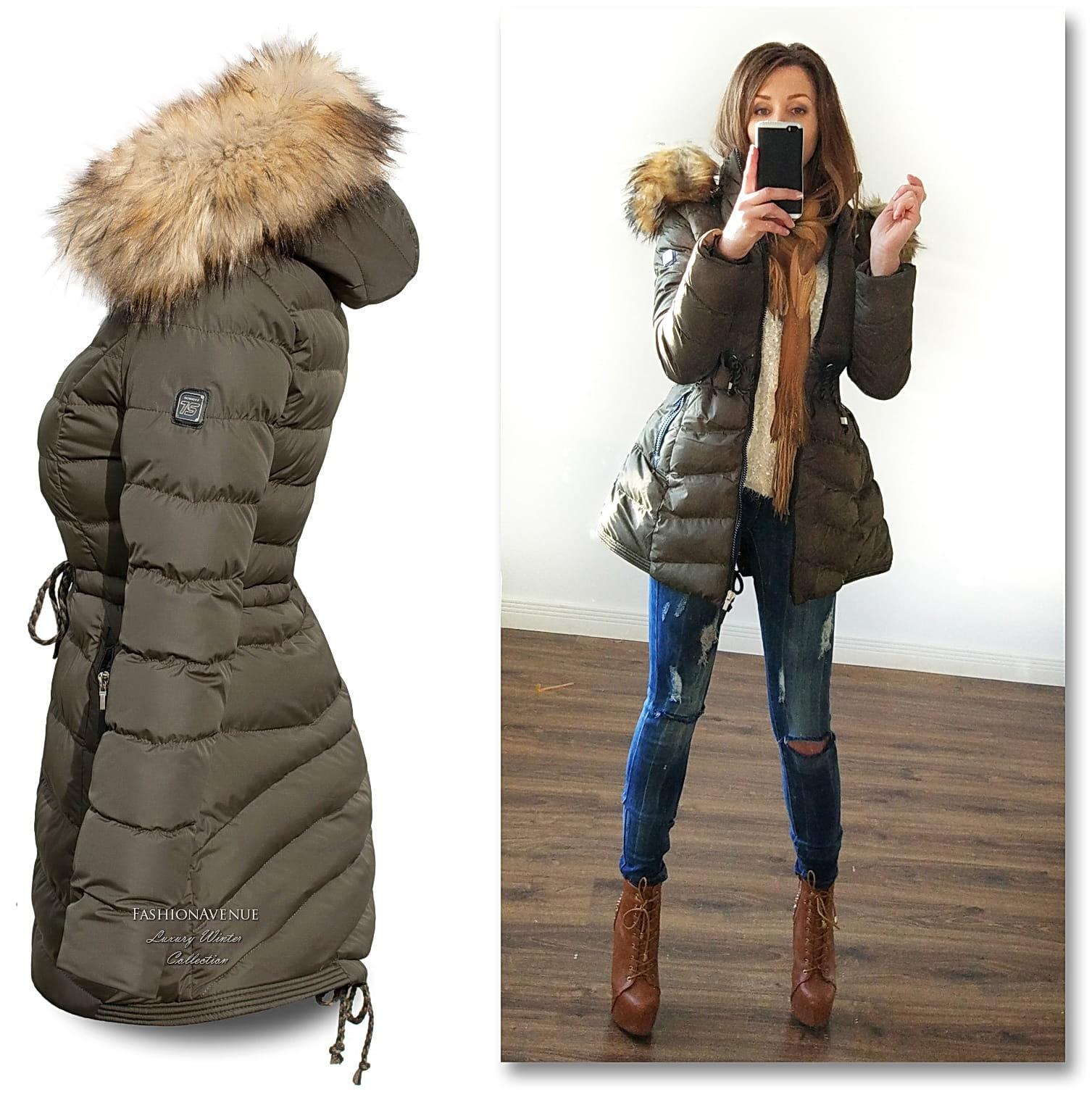 ciepła kurtka zimową damska pilowana ocieplana